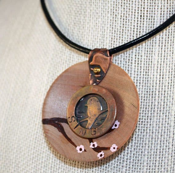 wood copper painted pendant