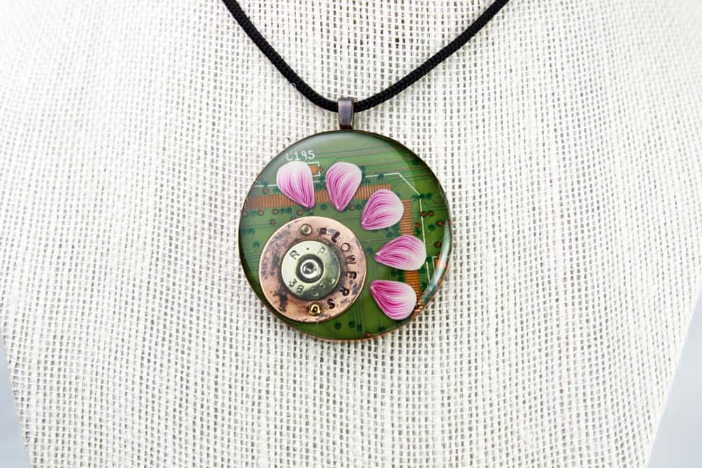 Flowers Not Firearms 1 - Circuit Board Pendant