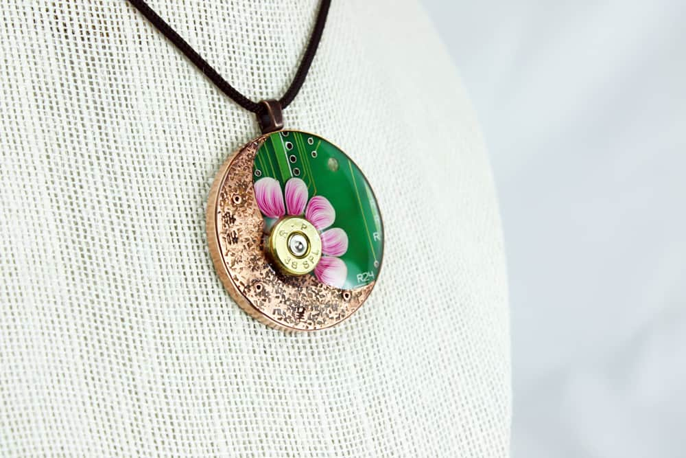 Flowers Not Firearms 2 Circuit Board Pendant
