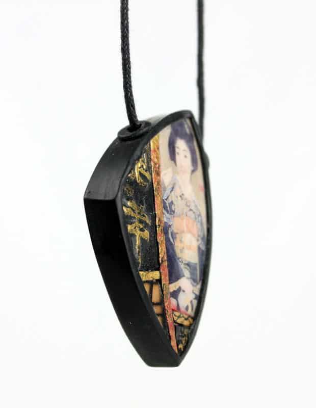 Geisha Shadowbox Polymer Clay Pendant