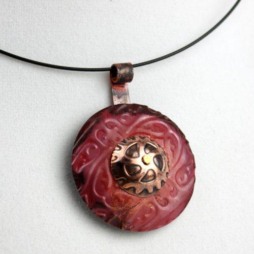 Ornate Gear Copper Pendant