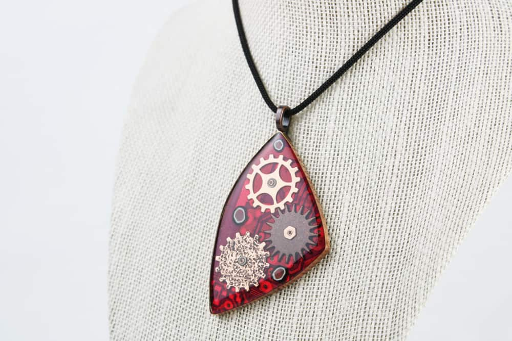 Geared in Red 1 - Circuit Board Pendant - Front
