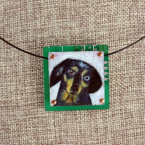 dachshund hand-illustrated pendant