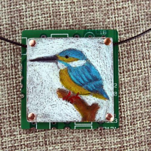 Kingfisher Hand-Illustrated Pendant