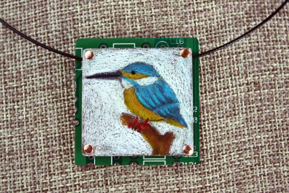 Kingfisher Hand-Illustrated Pendant