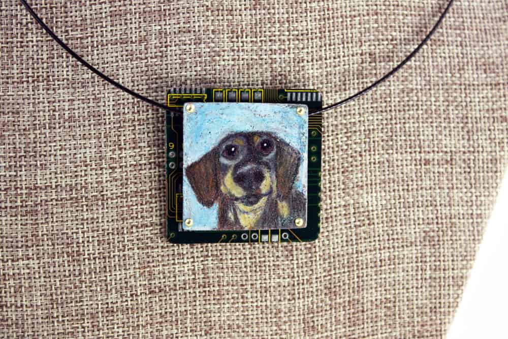 Oscar Dachshund Hand-Illustrated Pendant