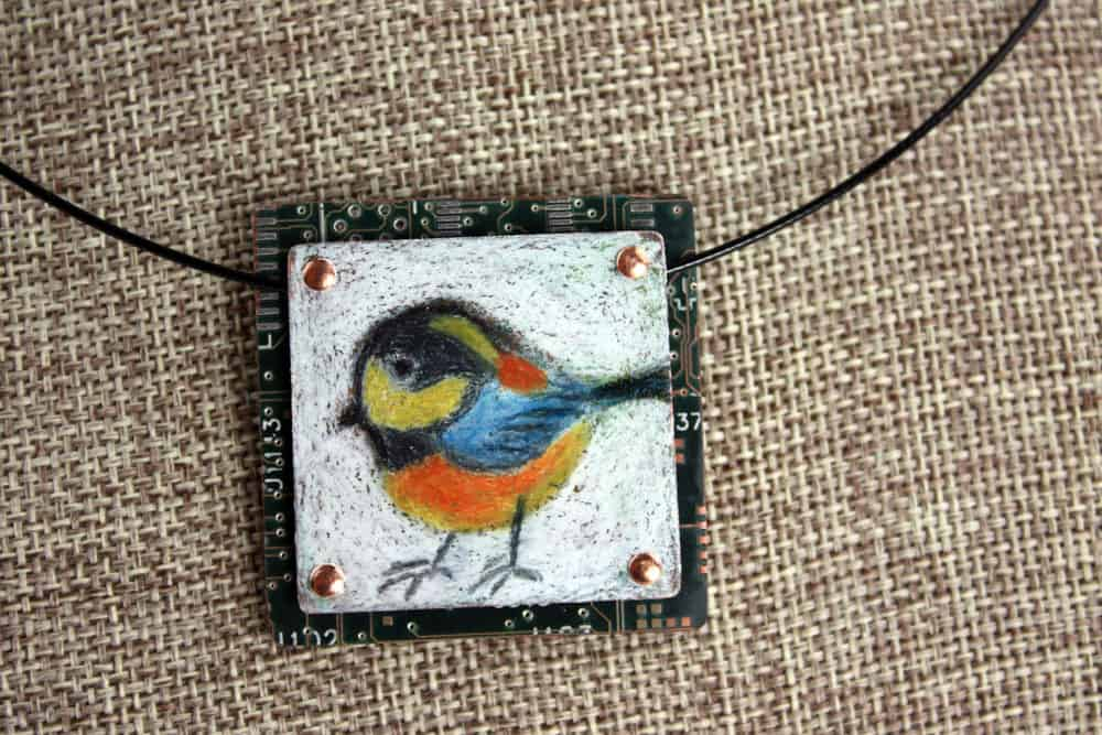 Varied Tit Hand-Illustrated Pendant