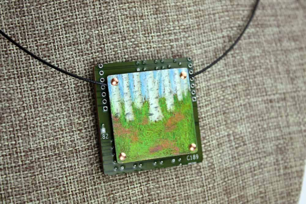 Summer Birches Hand-Illustrated Pendant