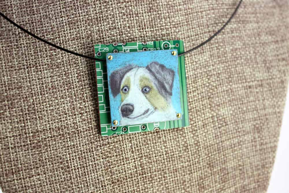 Australian Shepherd Hand-Illustrated Pendant