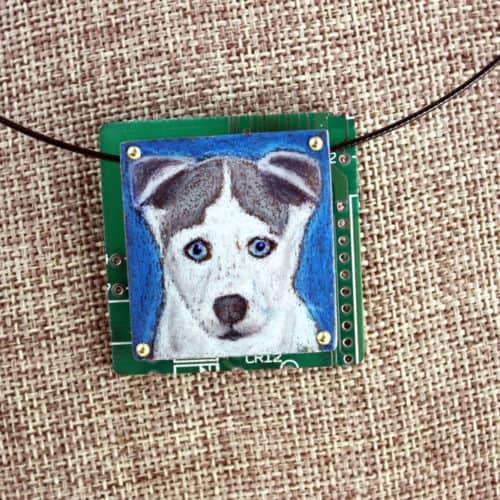 Siberian Husky Hand-Illustrated Pendant