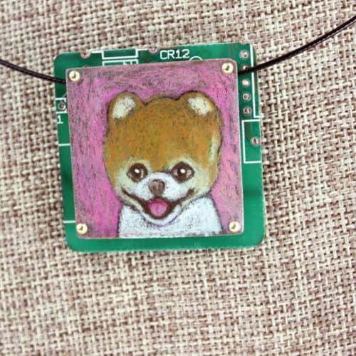 Pomeranian Hand-Illustrated Pendant