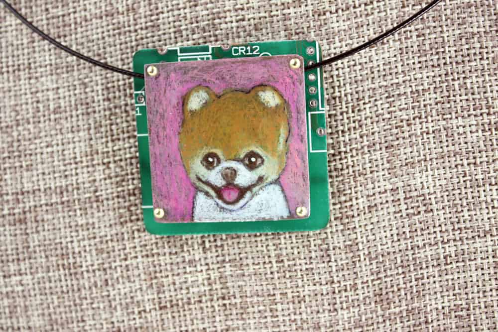 Pomeranian Hand-Illustrated Pendant