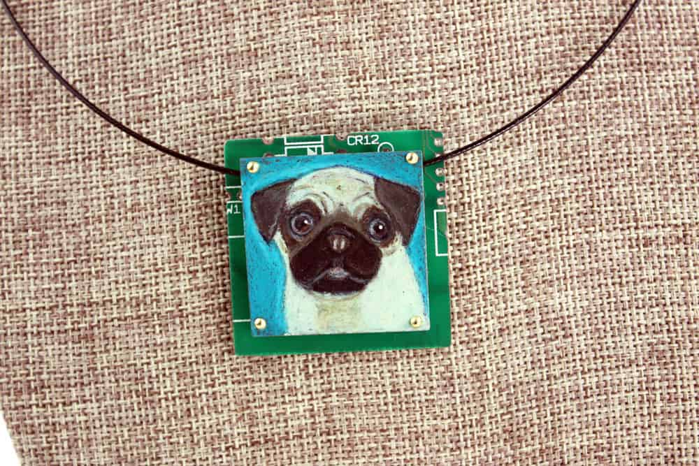 Pug Hand-Illustrated Pendant