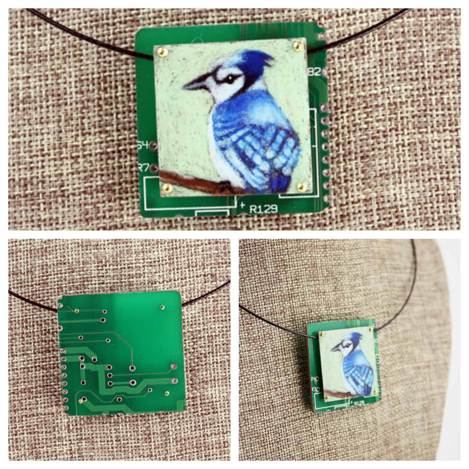 Blue Jay Hand-Illustrated Pendant