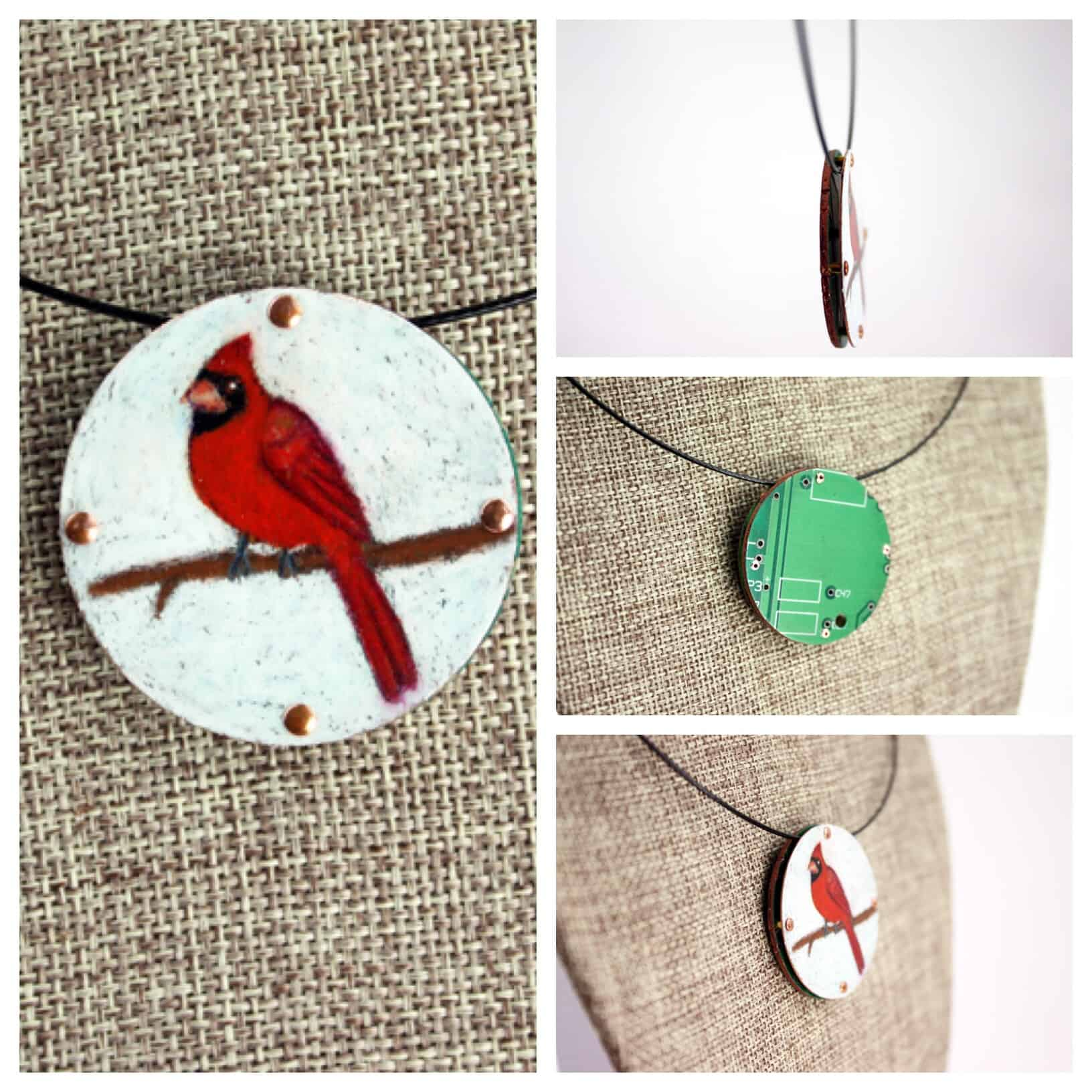 Cardinal Hand-Illustrated Pendant