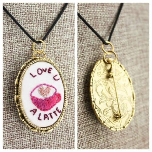 Hand-Embroidered Pendant / Pin