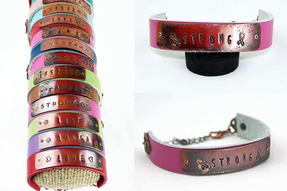 Custom Stamped Copper Leather Bracelet