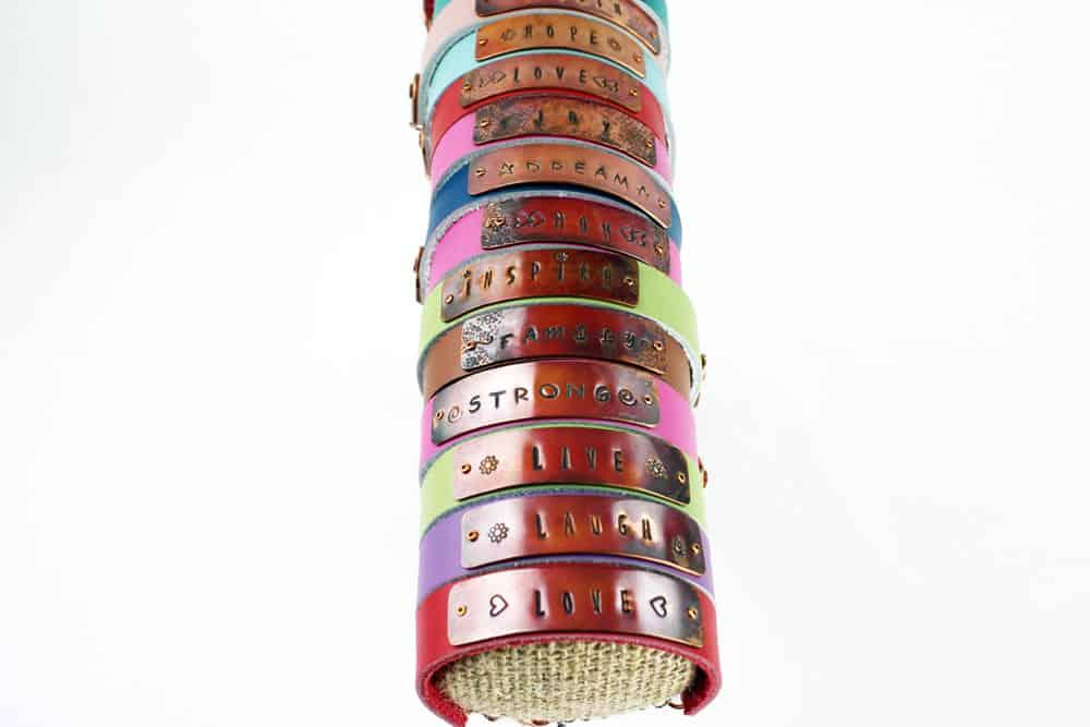 Custom Stamped Copper Leather Bracelets